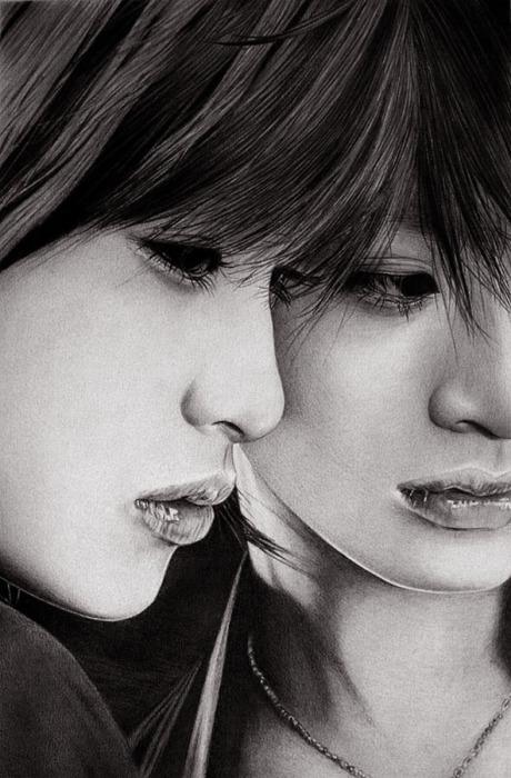 Айя Юто - отражение (Aya Ueto - Reflection).  Автор работ: художник-самоучка Кен Ли (Ken Lee).