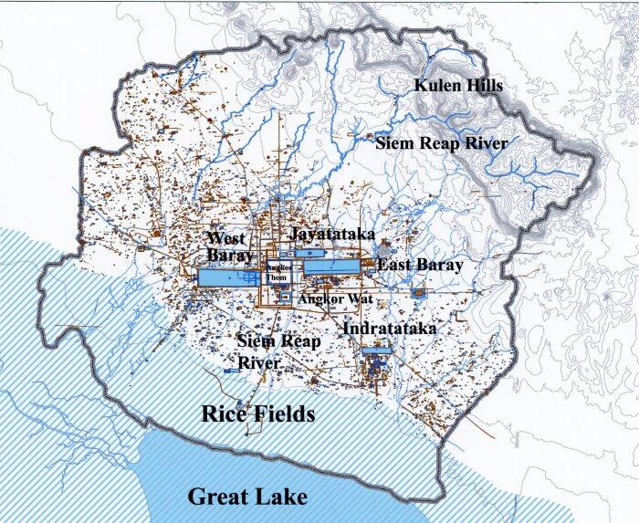 Карта водных путей и объектов Ангкора. \ Фото: ancientwatertechnologies.com.