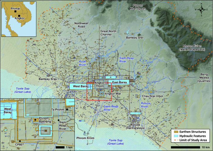 Большая площадь Ангкора, показывающая гидравлическую сеть с Пном Куленом. \ Фото: cyclebodia.com.