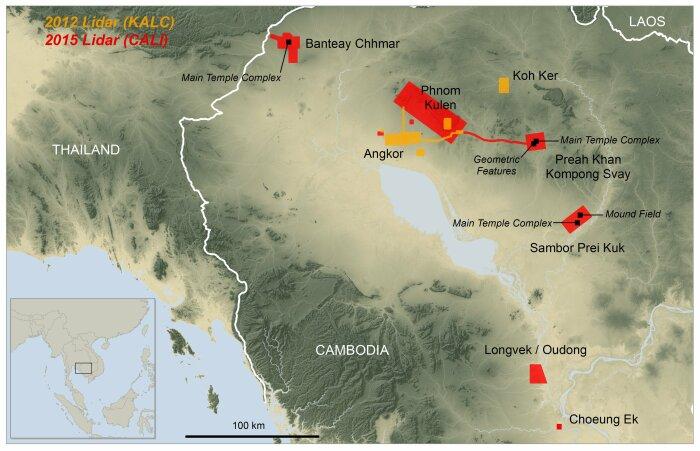 Лидарное сканирование в Камбодже выявило древние города, в том числе столицы Ангкор и Пном Кулен. \ Фото: ingenieur.de.