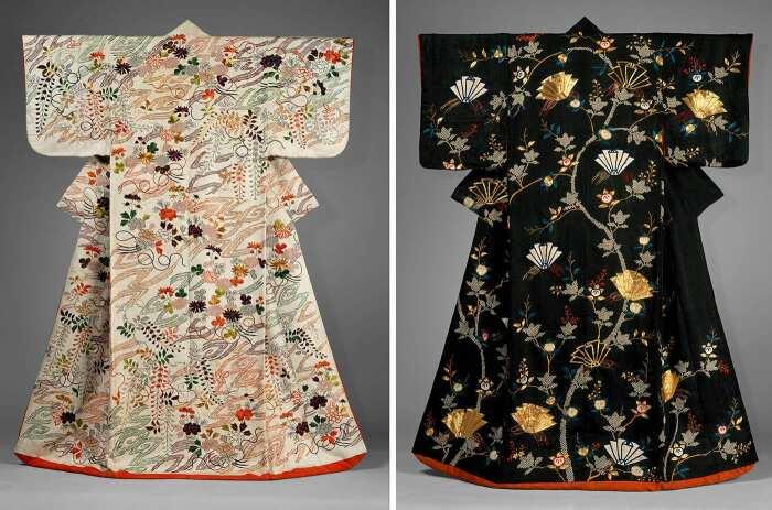 Слева направо: Верхняя одежда (учикаке) с букетами хризантем и глициний. \ Верхняя одежда (учикаке) со сложенными из бумаги бабочками. \ Фото: twitter.com.