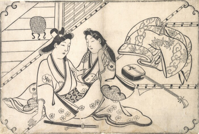 Двое влюблённых, Хисикава Моронобу, ок. 1675-80 гг. \ Фото: smarthistory.org.