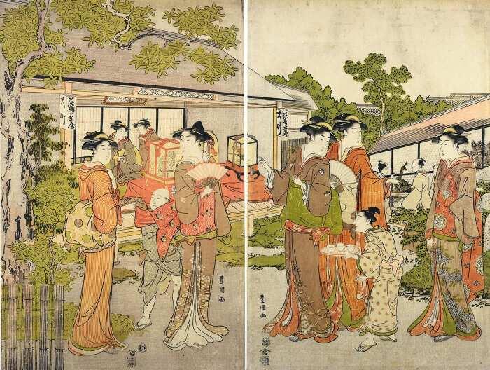 Женщины, прогуливающиеся в саду чайного домика в Эдо, Утагава Тоёкуни , 1795-1800 гг. \ Фото: pinterest.ru.