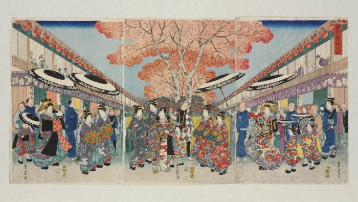 Улица Накано в Ёсиваре, Утагава Хиросигэ II, 1826-69 гг. \ Фото: collections.vam.ac.uk.