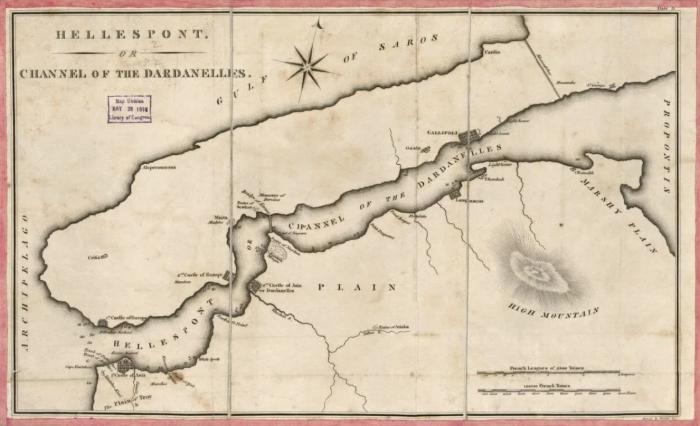 Карта Геллеспонта, Annin & Smith, около 1830 года. \ Фото: yandex.ua.