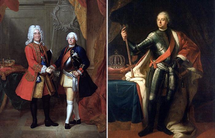 Слева. Август II и Фридрих Вильгельм. \ Справа:  Фридрих Вильгельм I. \ Фото: commons.wikimedia.org.