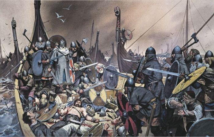 Последний бой Олафа Триггвасона, битва при Свольде. \ Фото: bantarleton.tumblr.com.