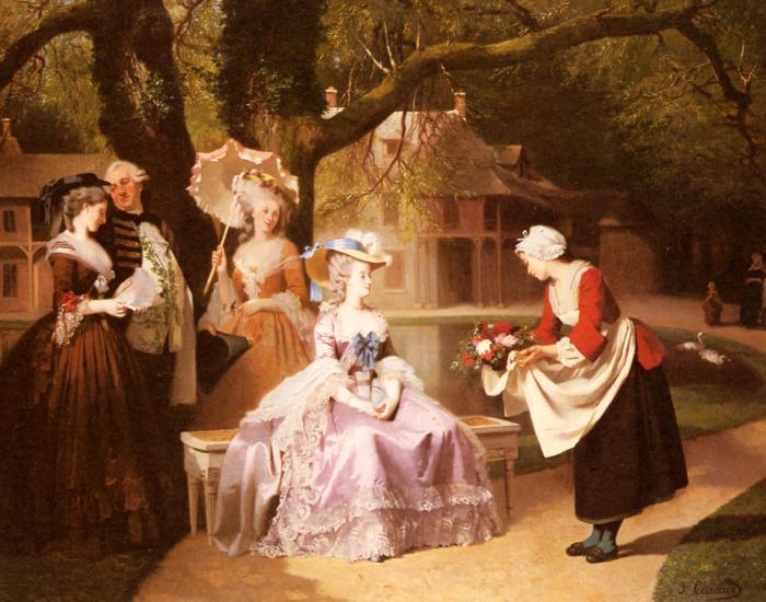 Иосиф Карауд: Мария-Антуанетта и Людовик XVI в саду. \ Фото: artchive.ru.artists.