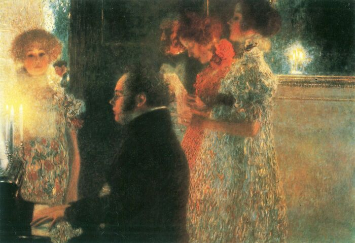 Шуберт за роялем. \ Фото: commons.wikimedia.org.
