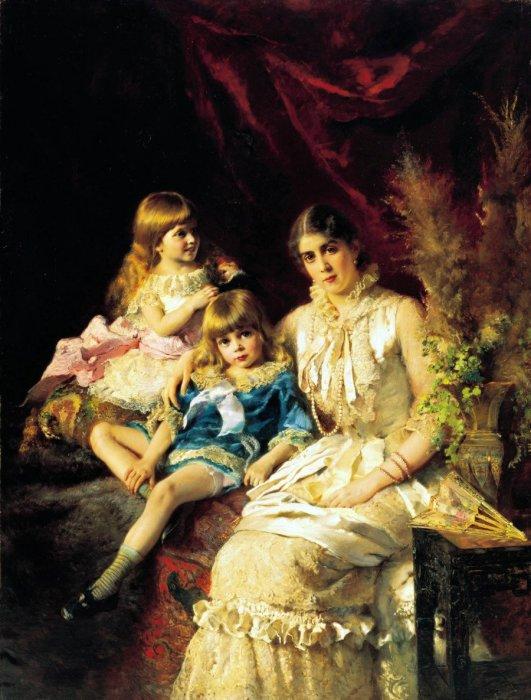 Семейный портрет. 1882 год, Изображена Ю.П.Маковская с детьми Сергеем и Еленой. Автор: Константин Маковский.