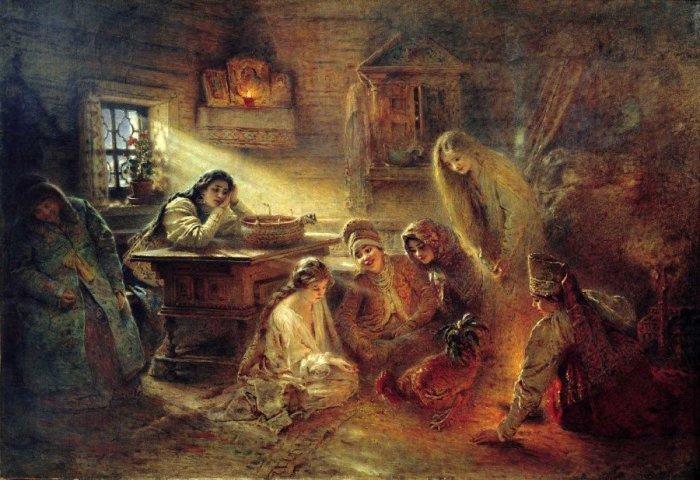 Гадание, 1915 год. Автор: Константин Маковский.