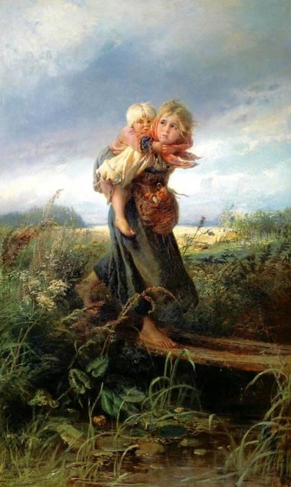 Дети, бегущие от грозы. 1872 год, Государственная Третьяковская галерея, Москва. Автор: Константин Маковский.