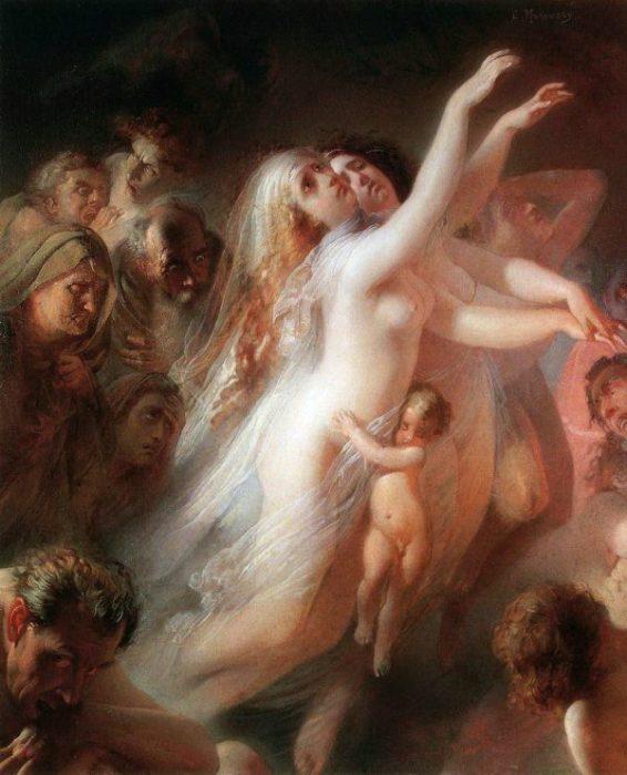 Харон перевозит души умерших через реку Стикс. Автор: Константин Маковский.