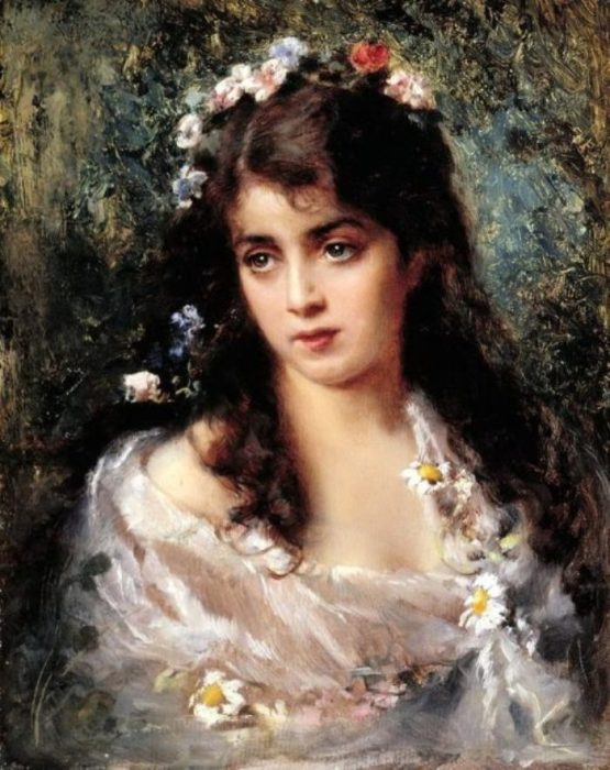 Девушка в костюме Флоры. Автор: Константин Маковский.