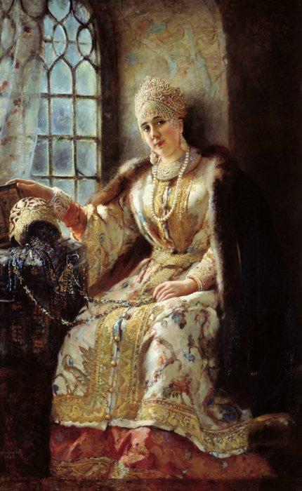 Боярыня у окна, 1885 год. Автор: Константин Маковский.