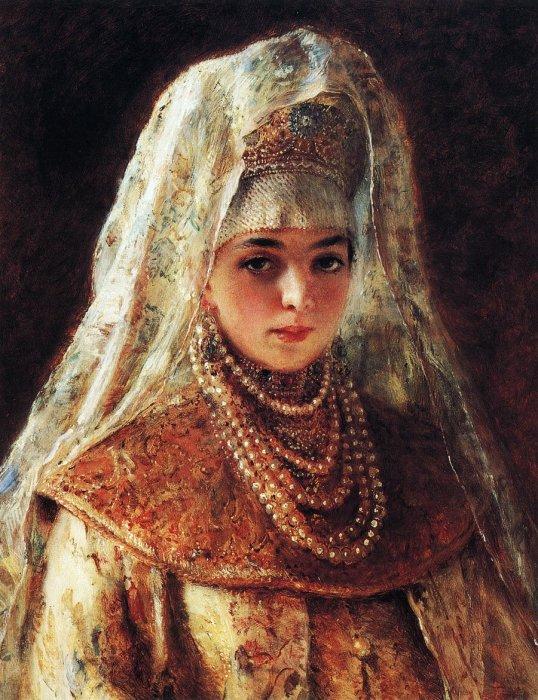 Боярышня, Этюд к картине 1901 года «Хмелем обсыпают». Автор: Константин Маковский.