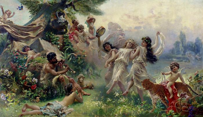 Счастливая Аркадия, 1889-1890 гг, частное собрание. Автор: Константин Маковский.