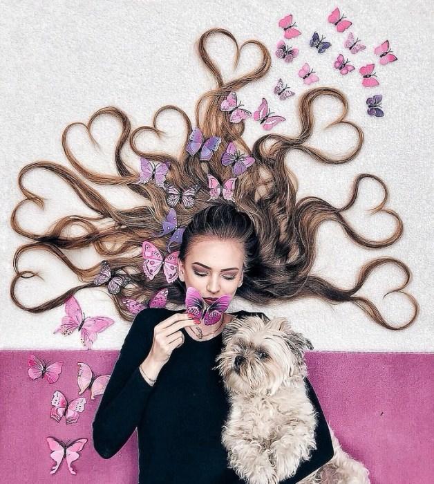 Бабочки в волосах. Автор: Krissy Elisabeth.