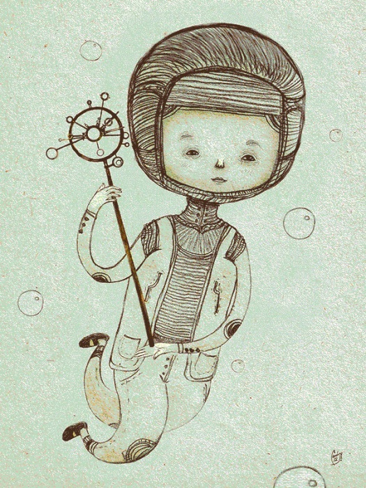 Bubble Collector (Хранитель мыльных пузырьков). По-детски милые образы в работах художницы  Ланы Тополь (Chemical Sister).