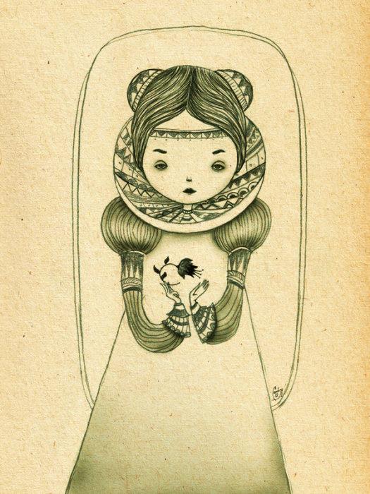 Хранительница Черного Цветка (Keeper of the Black Flower). По-детски милые образы в работах художницы Ланы Тополь (Chemical Sister).