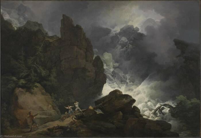 Картина Филиппа Якоба Лютербурга Лавина в Альпах, 1803 год. \ Фото: de.wahooart.com.