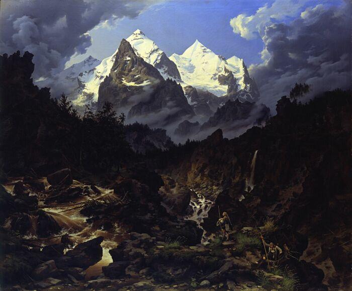 Картина Карла Эдуарда Бирмана Гора Веттерхорн, 1830 год. \ Фото: blog.smb.museum.