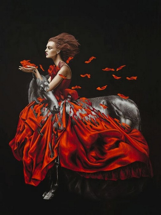 Девушка в алом платье. Автор: Лариса Морейс.