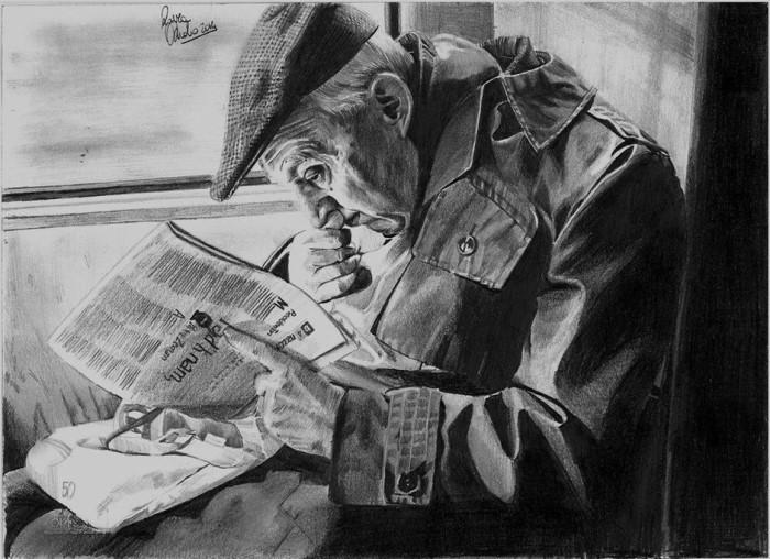 Мужчина с газетой. Автор: Laura Muolo.