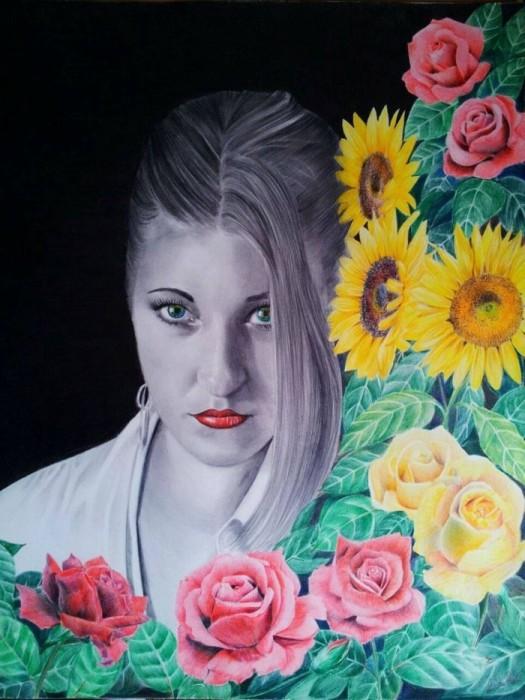 Розы и подсолнухи. Автор: Laura Muolo.