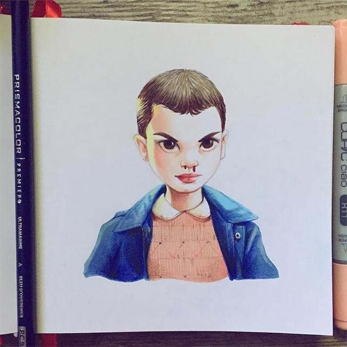Милли Бобби Браун в образе Одиннадцать из сериала «Очень странные дела». Автор: Лера Кирякова.