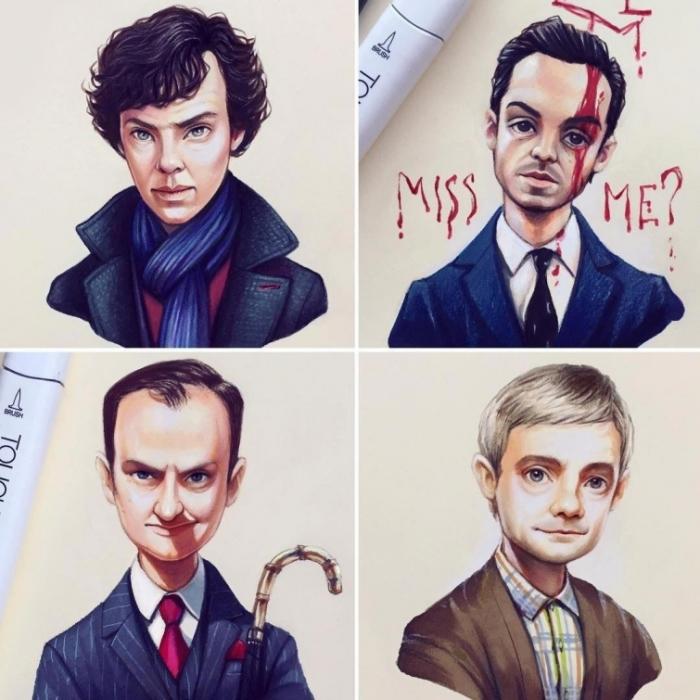 Персонажи сериала «Шерлок». Автор: Лера Кирякова.