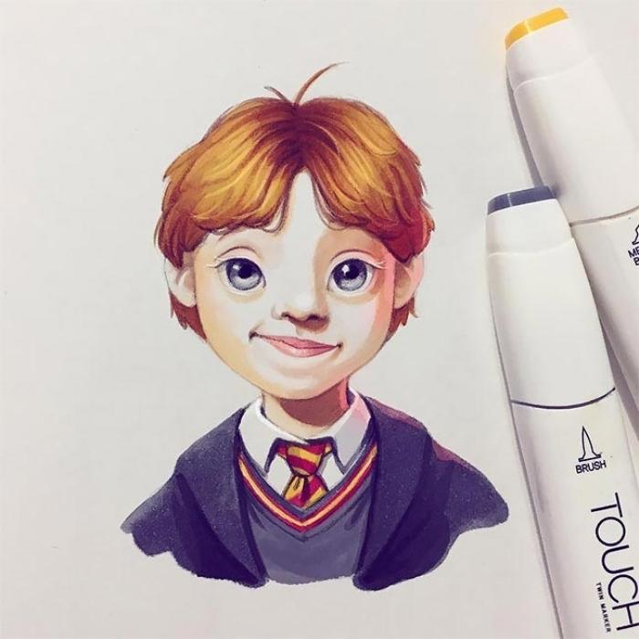 Руперт Гринт в образе Рона Уизли из «Гарри Поттера». Автор: Лера Кирякова.