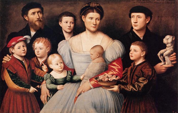 Бернардино Личинио: Портрет Арриго Личинио и его семьи. \ Фото: pinterest.ru.