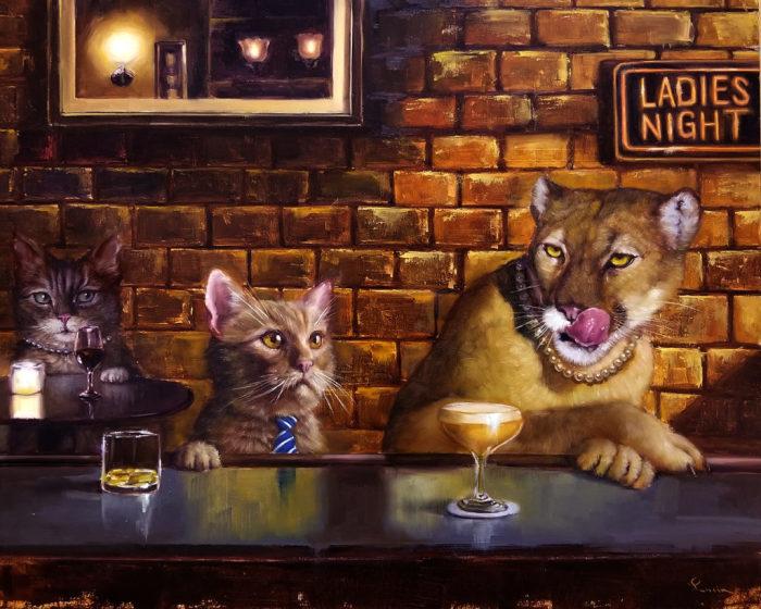 Вечер в баре. Автор: Lucia Heffernan.