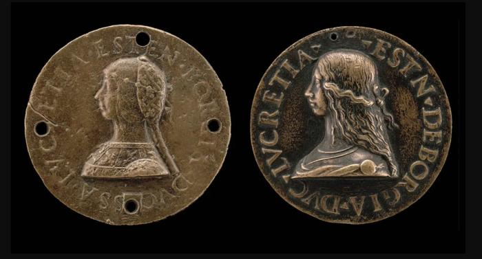 Изображения памятных медалей Лукреции Борджиа, 1480-1519 гг. \ Фото: pinterest.com.
