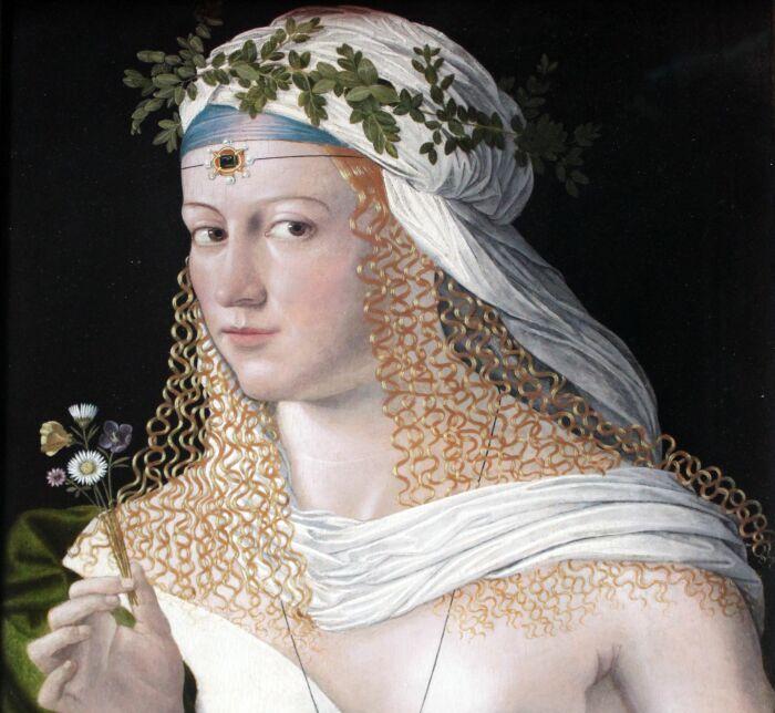 Идеализированный портрет куртизанки в образе Флоры, Бартоломео Венето, ок. 1520 года. \ Фото: theborgiabull.com.