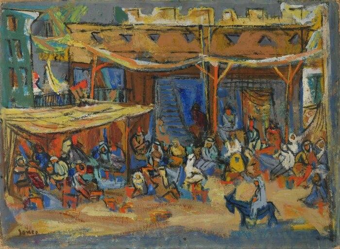 Арабское кафе в Рамалле, Марсель Янко. \ Фото: artsandculture.google.com.
