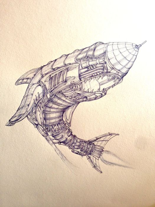 Aerial Hinden Shark. (Воздушная акула). Автор рисунка: Marcomatic.