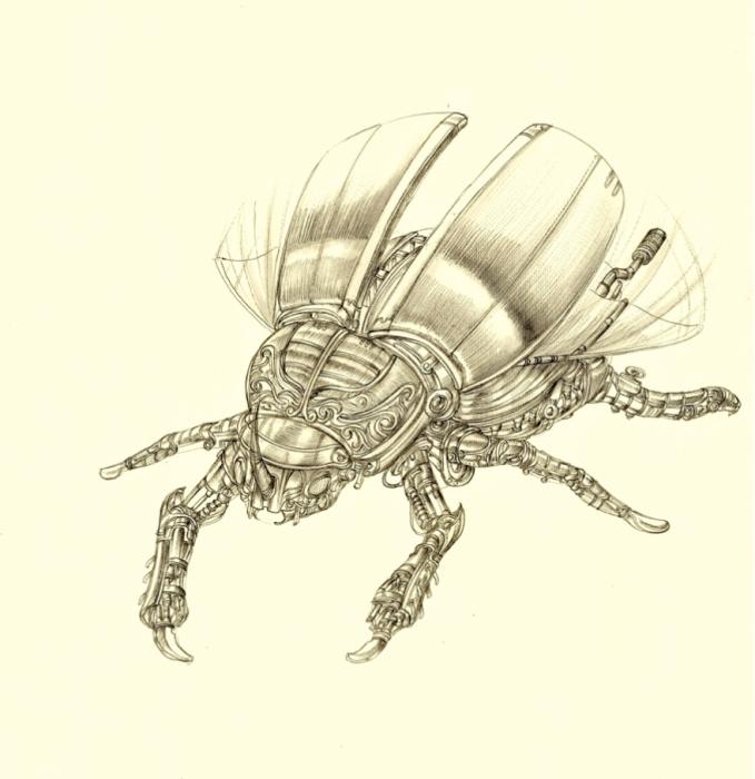 Metal Carapace Scarab Beetle. (Металлический панцирь. Жук-скарабей).  Автор рисунка: Marcomatic.