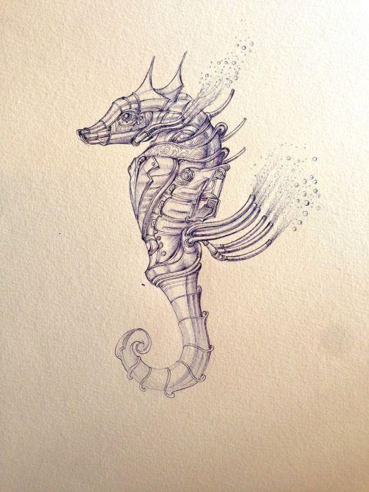Jet Propulsion Seahorse. (Реактивное движение. Морской конек). Автор рисунка: Marcomatic.