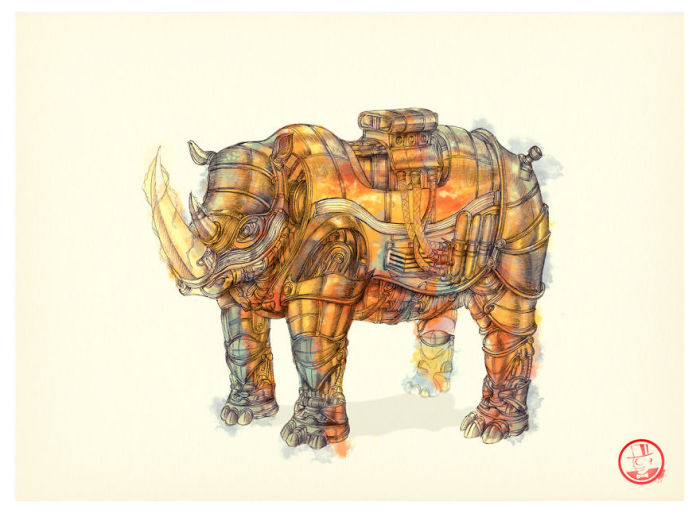 Tesla Charge Rhino. (Заряд Тесла. Носорог). Автор рисунка: Marcomatic.