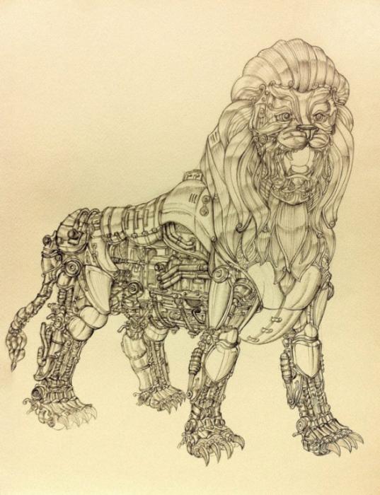 Metal Mane Lion. (Металлический лев). Автор рисунка: Marcomatic.