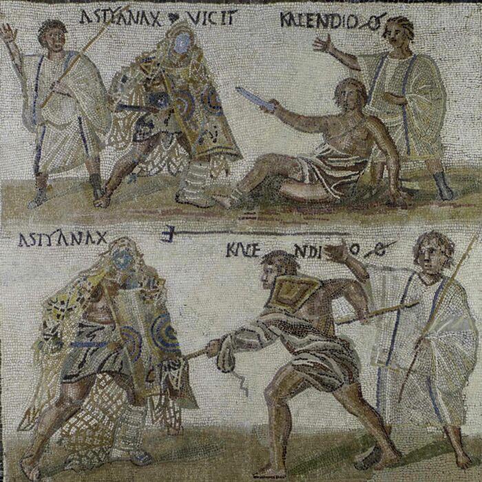 Мозаика, изображающая бой между гладиаторами, III век н. э. \ Фото: pinterest.es.