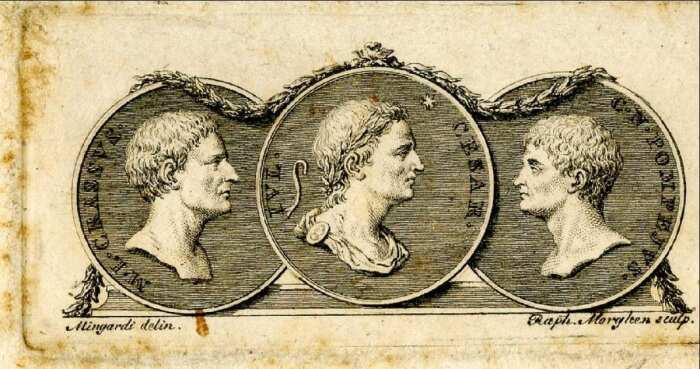 Виньетка с профилями трёх триумвиров, 1791-94 гг. \ Фото: yandex.ru.