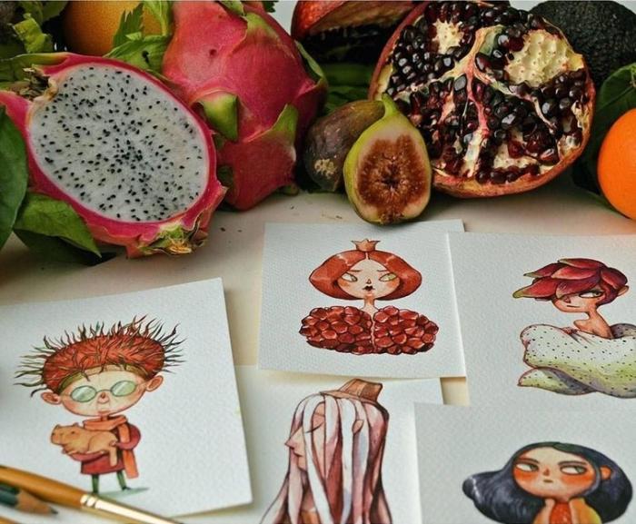 Художница Мария Тиурина превращает фрукты и овощи в очаровательных персонажей.