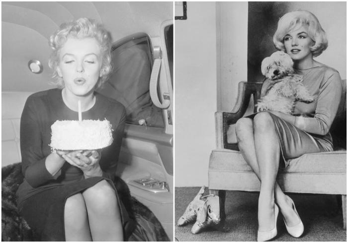 Слева:  Тридцатилетие Монро, 1956 год. \ Справа: Нью-Йорк, 1955 год. \ Фото:  cosmopolitan.com.