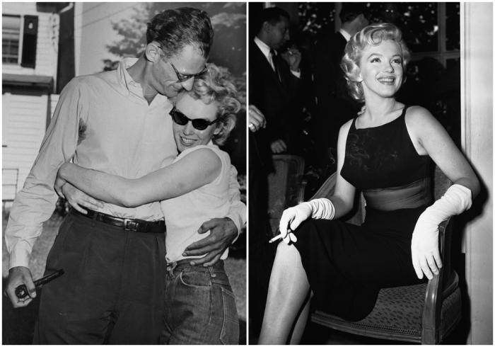 Слева: Третий брак, 1956 год. \ Справа: Мэрилин улыбается на пресс-конференции, 1956 год. \ Фото: google.com.