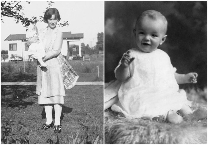 Слева: Крепкие объятия матери, 1926 год. \ Справа: Первая портретная фотография, 1927 год. \ Фото: google.com.