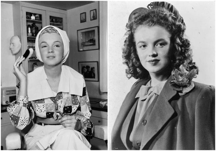 Слева: Рождение образа Мэрилин Монро, 1948 год. \ Справа: Подросток Норма Джин Мортенсон. \ Фото:   cosmopolitan.com.