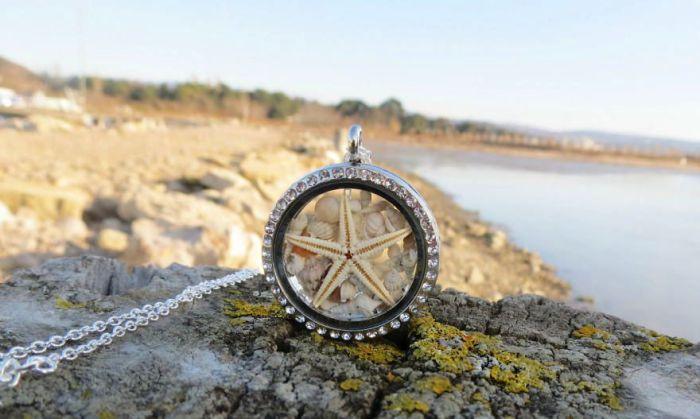 Серебряный кристалл от Maristella с миниатюрными ракушками и настоящей морской звездой.